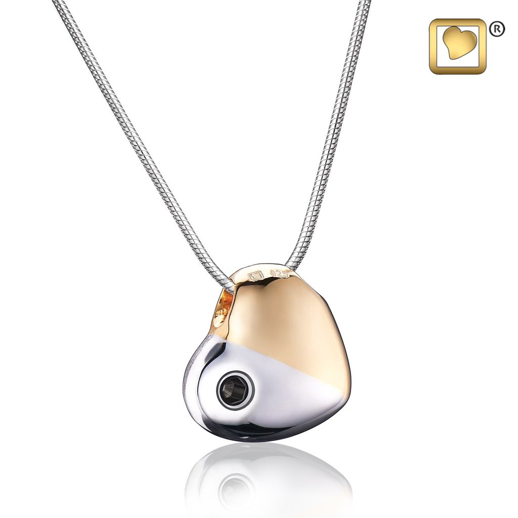 Handmade Rhodium plated .925 Sterling Silver heart pendant