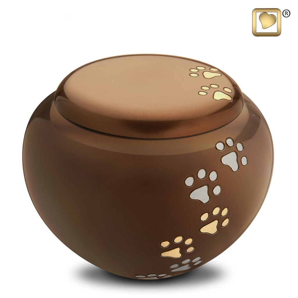 Brass Pet Cuddle Urn with Paws